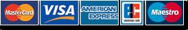 Bild mit den Zahlungsarten: MasterCard, VISA, American Express, EC-Karte und Maestro